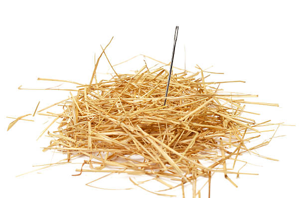 needle in haystack Closeup of a needle in haystack sewing needle stock pictures, royalty-free photos & images