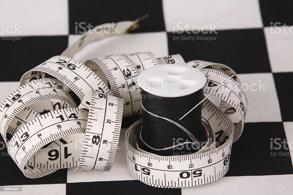 needle, measure tape royalty-free stock photo