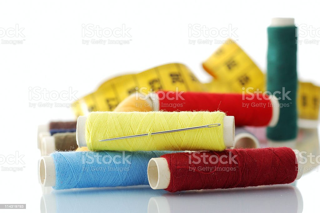 Needle, Thread and Measure royalty-free stock photo