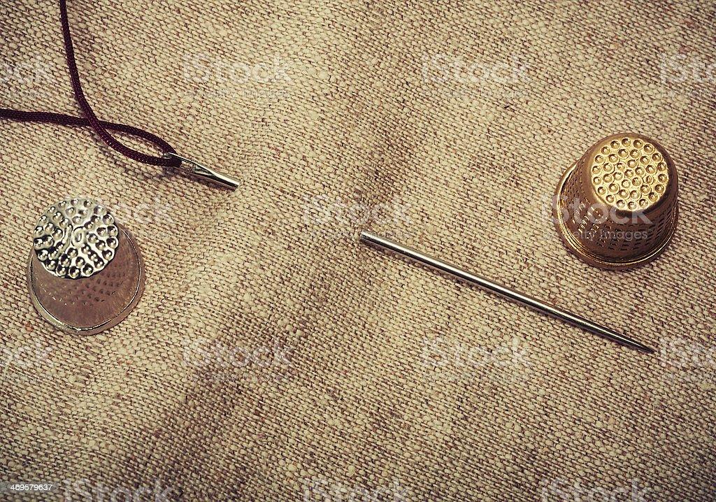 needle, thread, thimble stock photo