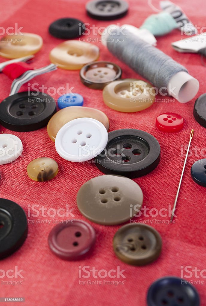 needle with buttons stock photo