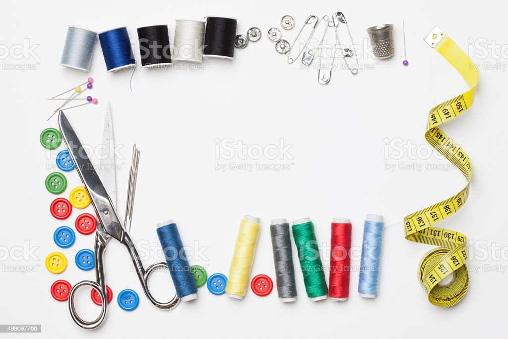 Needlework tailoring tools, isolated on white background stock photo