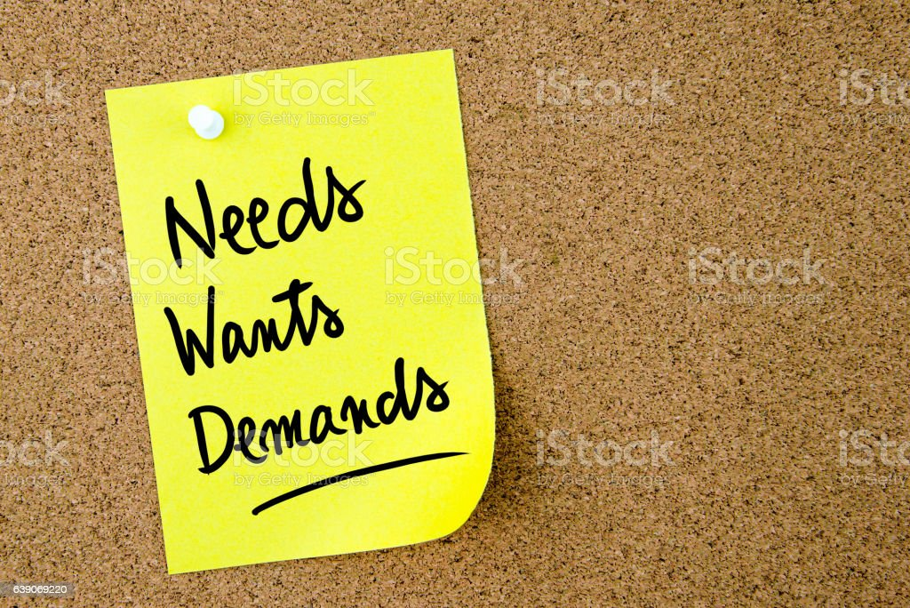 Needs, Wants, Demands text written on yellow paper note stock photo