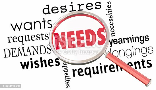 Needs Wants Desires Requirements Magnifying Glass 3d Illustration