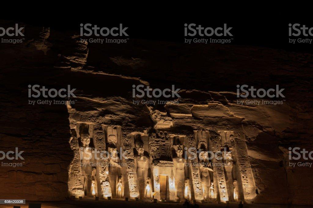 Nefertari Temple At Night stock photo