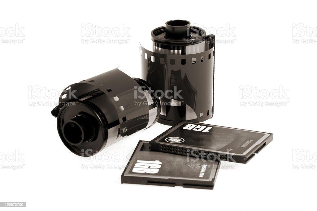 Negative and digital film. B&W. Sepia. royalty-free stock photo