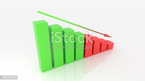 istock negative graph 3d illustration isolated white background 468208388