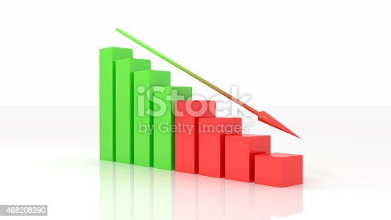 istock negative graph 3d illustration isolated white background 468208390