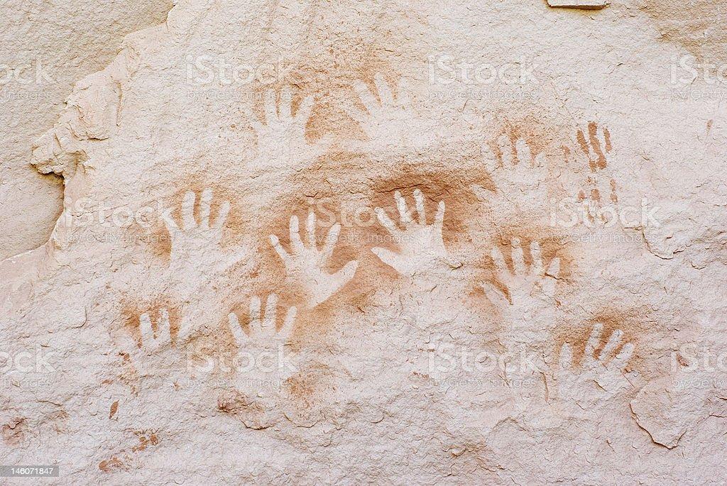 Negative Handprints stock photo
