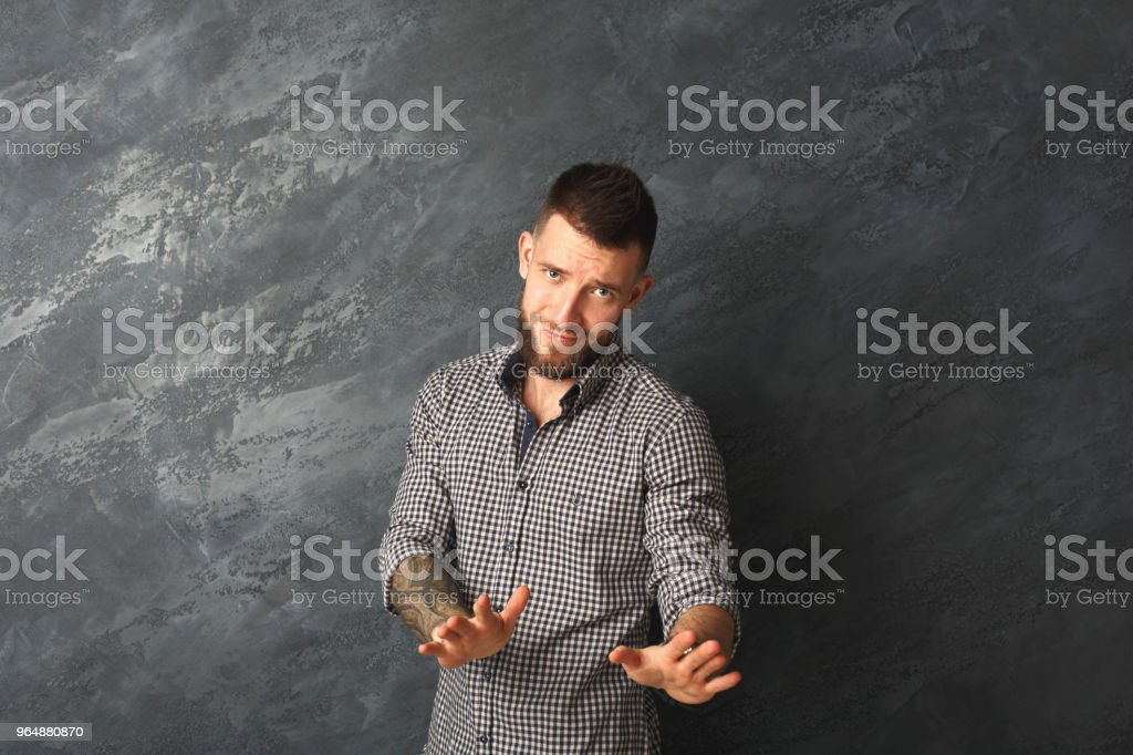 Negative human emotion, man expressing disgust royalty-free stock photo