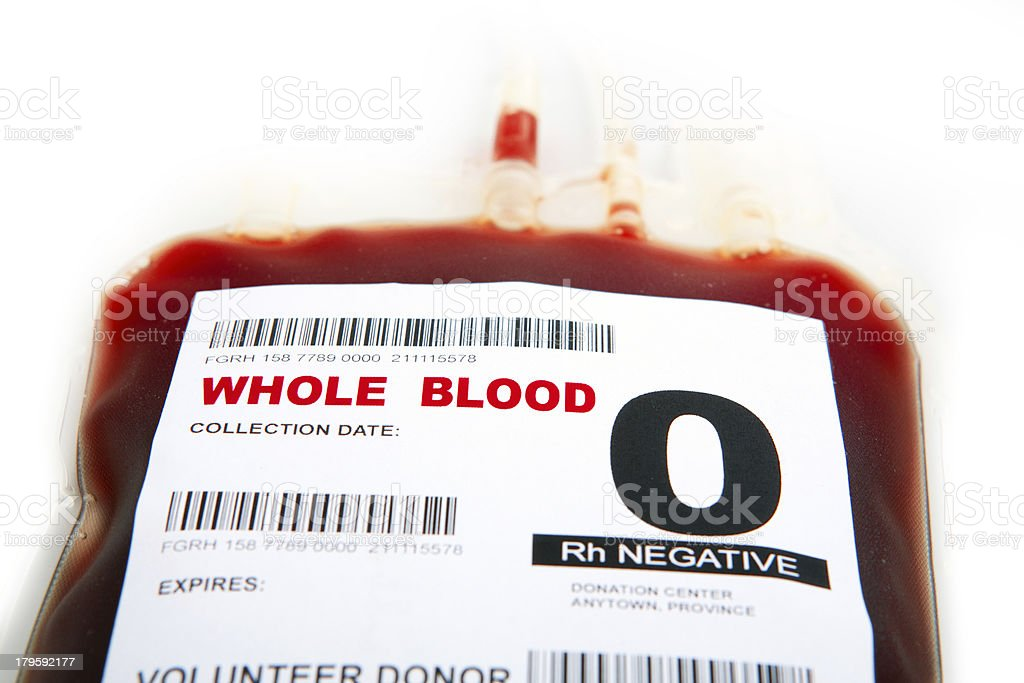 O Negative packed cell blood bag stock photo