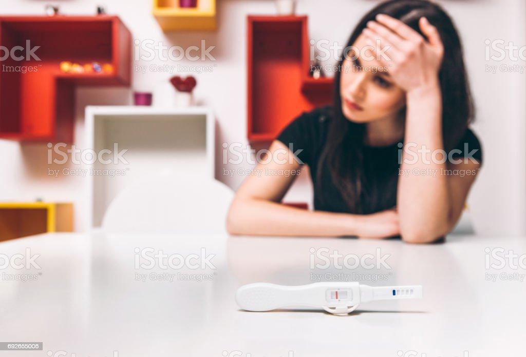 Negative pregnancy test. Sad woman, infertility. stock photo