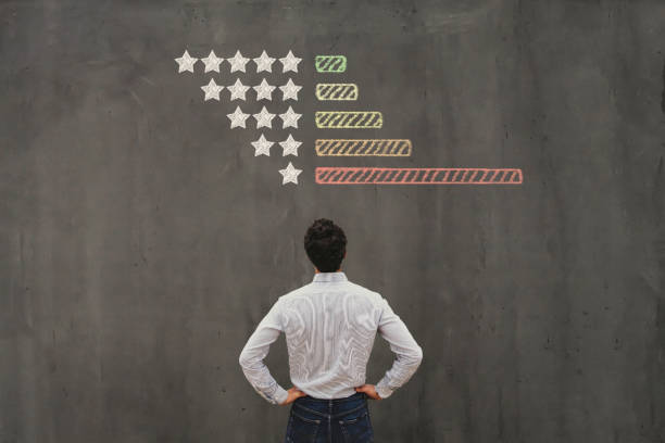 negative reviews on internet, business man handling  bad rating stock photo