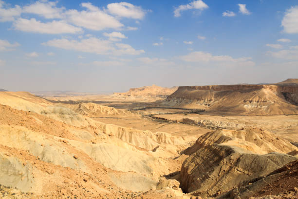 Negev desert mountain panorama of Nahal Zin canyon and cliffs, Israel Negev desert mountain panorama of Nahal Zin canyon and cliffs, Israel negev stock pictures, royalty-free photos & images