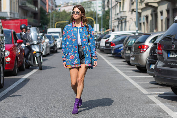 negin mirsalehi attending etro fashion show during milan fashion week - street fashion stock photos and pictures