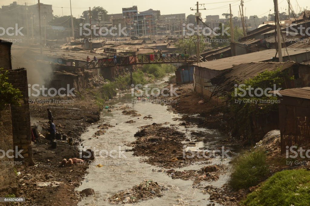 Neglected muddy slums in Kenya stock photo