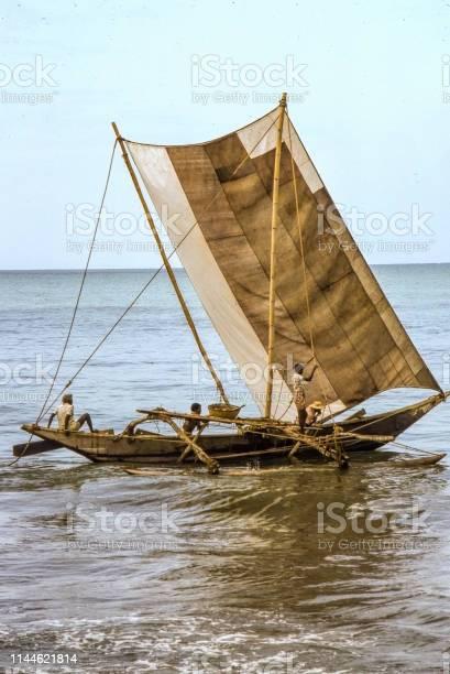 Negombo, Sri Lanka 1976. Fishing catamaran on the ocean, Nostalgia.