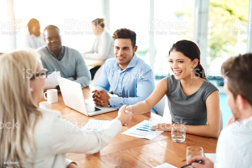 Die Verhandlung ist ein muss haben Geschick für erfolgreiche Unternehmer - Lizenzfrei Abmachung Stock-Foto