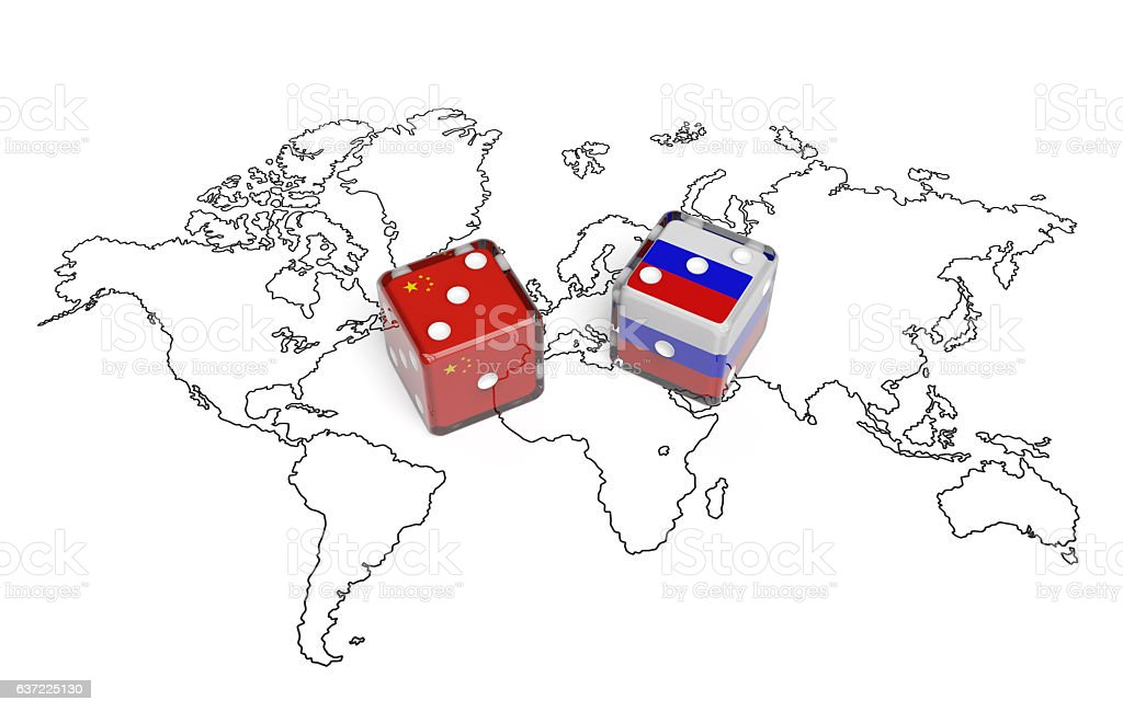 Negotiation between Russia and China (political concept) stock photo
