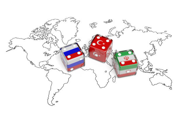 Negotiation between Russia, Iran and Turkey (political concept) Negotiation political concept: dices with flags of Russia, Iran and Turkey on the world map symbolize foreign affairs, summit of countries, state interests, discussion on global issues foreign affairs stock pictures, royalty-free photos & images