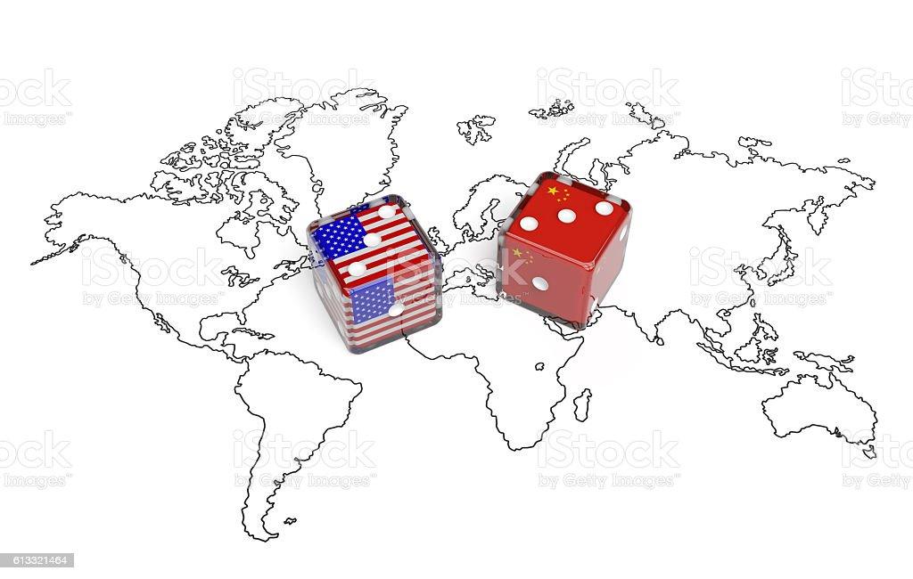Negotiation Dice Usa And China Stock Photo IStock - China usa map