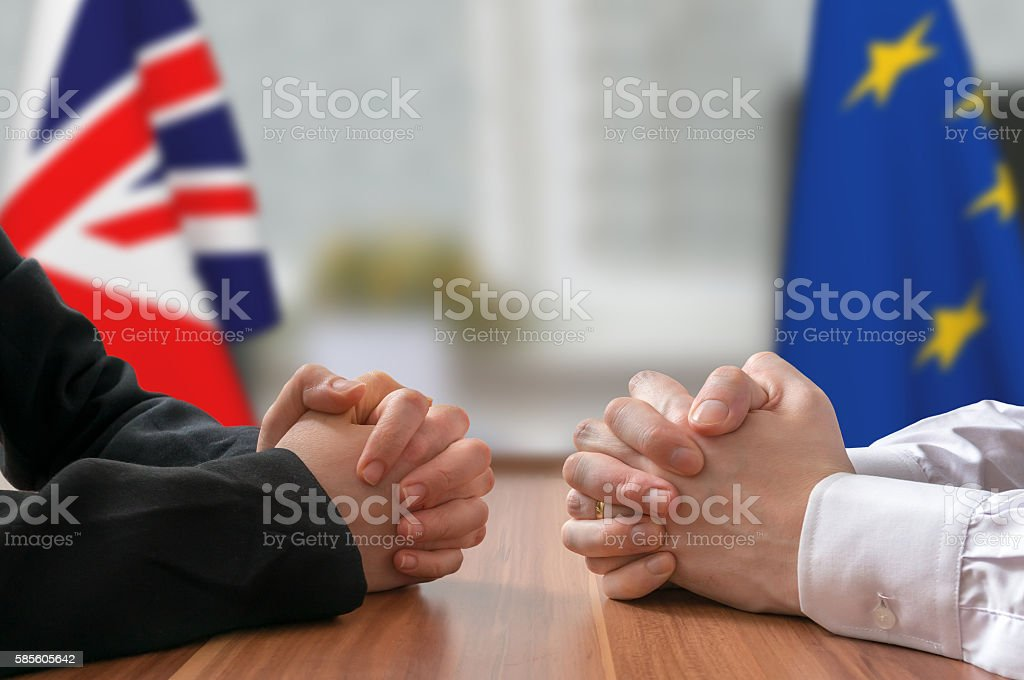 Negotiation - Great Britain and European Union (Brexit). Statesman, politicians. stock photo