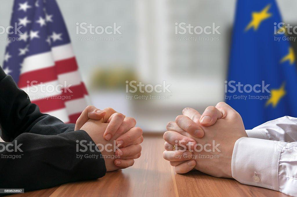 Negotiation of USA and European Union. Statesman or politicians. stock photo