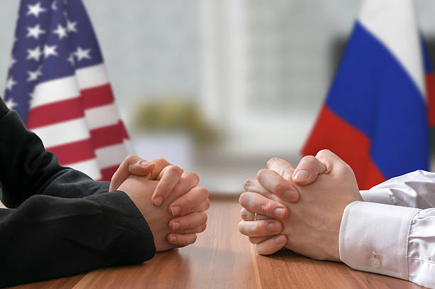 Negotiation of USA and Russia. Statesman or politicians. stock photo