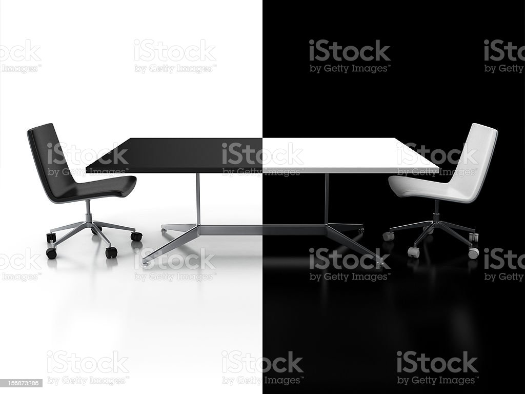 negotiations, confrontation 3d concept stock photo