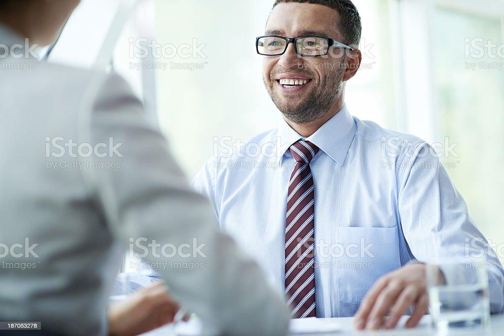 Negotiator in high spirits royalty-free stock photo