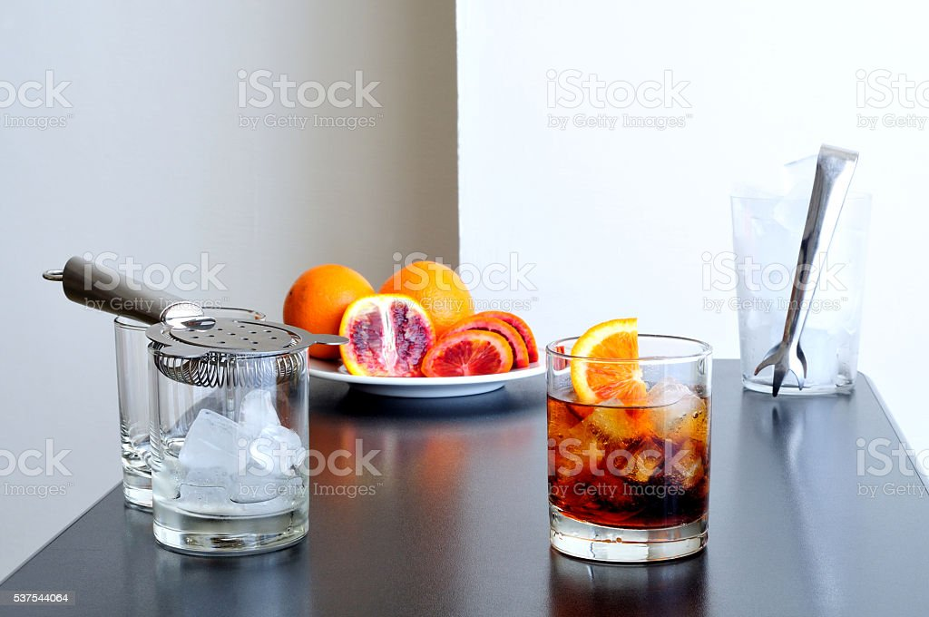 Negroni cocktail on the bar stock photo