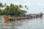 Alleppey, India - August 13, 2016 :Unidentified oarsmen/rowers in uniform participating in the very popular Nehru trophy snake boat race on the backwaters in Alappuzha, Kerala, India.