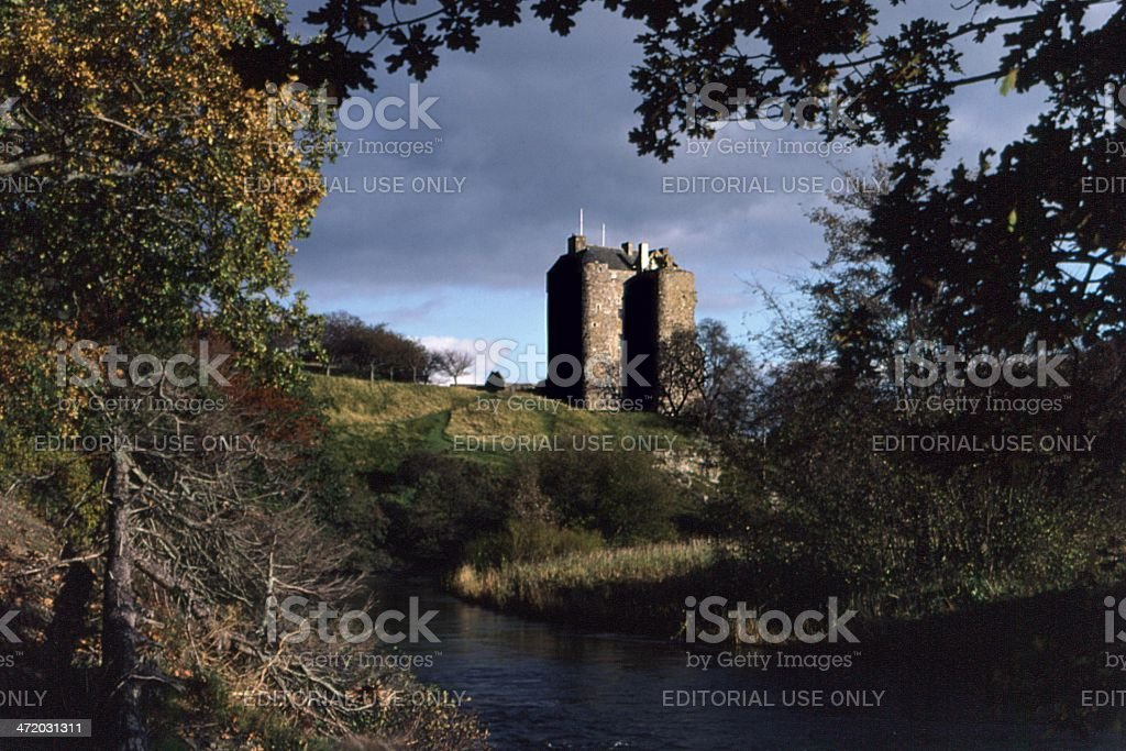 Neidpath Castle and River Tweed, Pebbles, Scottish Borders stock photo
