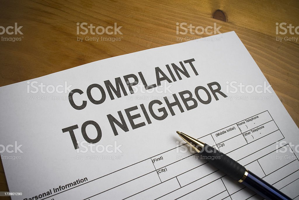 Neighbor Complaint form. stock photo