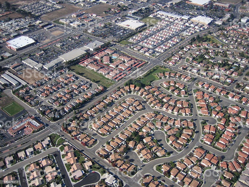 Neighborhood aerial with homes and apartments royalty-free stock photo