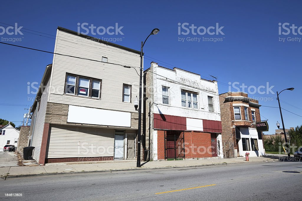 Neighborhood Banquet Hall, Church and Hotel in Roseland, Chicago royalty-free stock photo