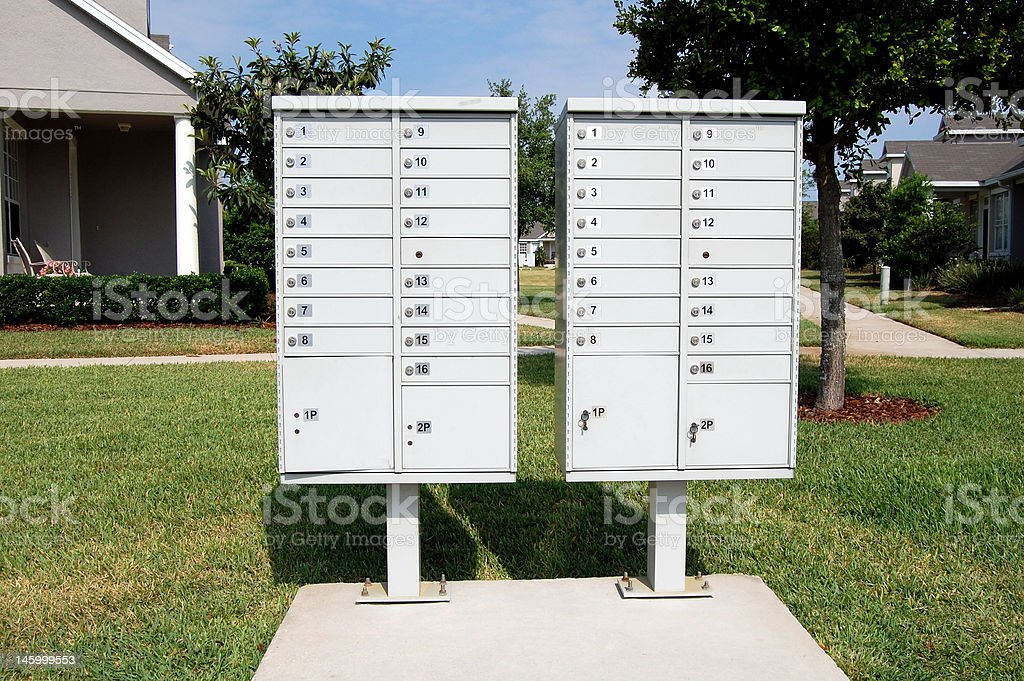 Neighborhood Communal Mailboxes stock photo