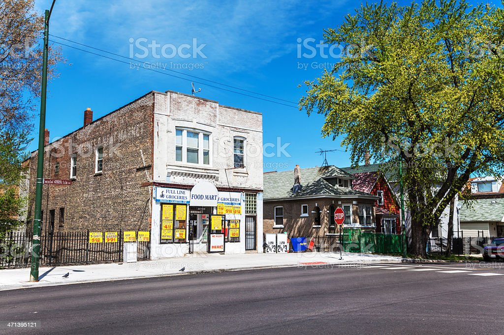 Neighborhood Food Mart in South Chicago royalty-free stock photo