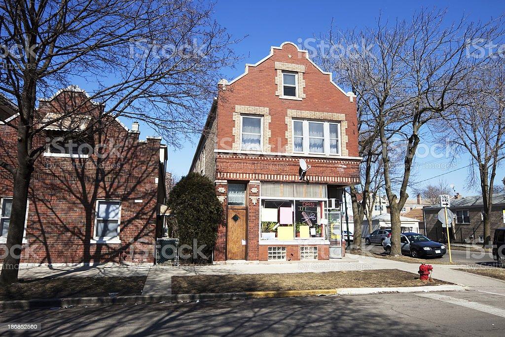 Neighborhood Hairdresser Shop in Chicago royalty-free stock photo