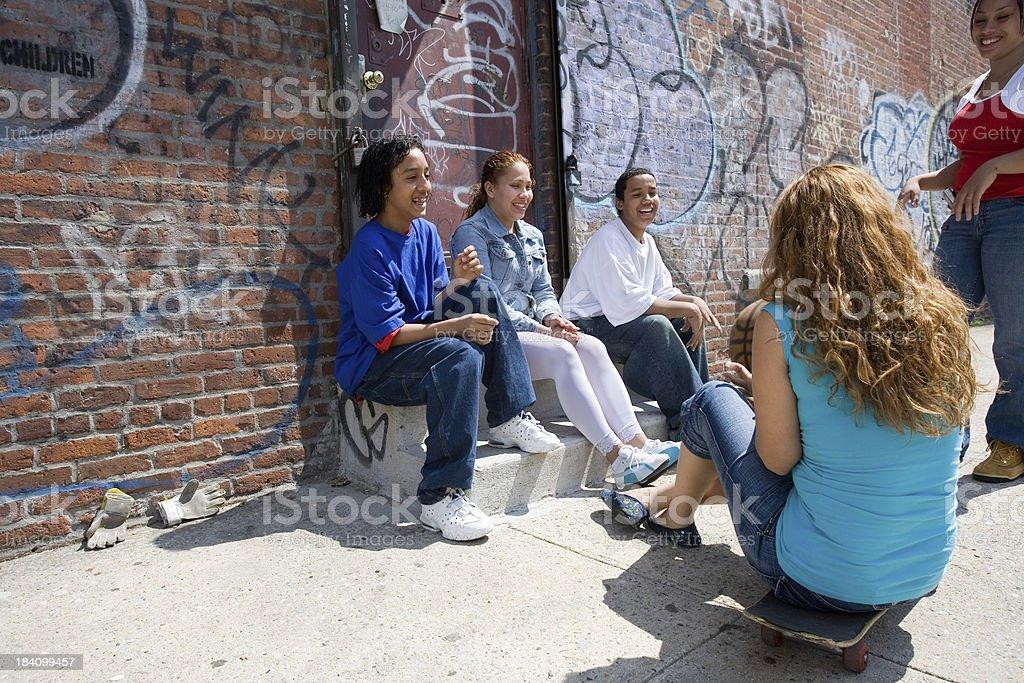 Neighborhood kids stock photo