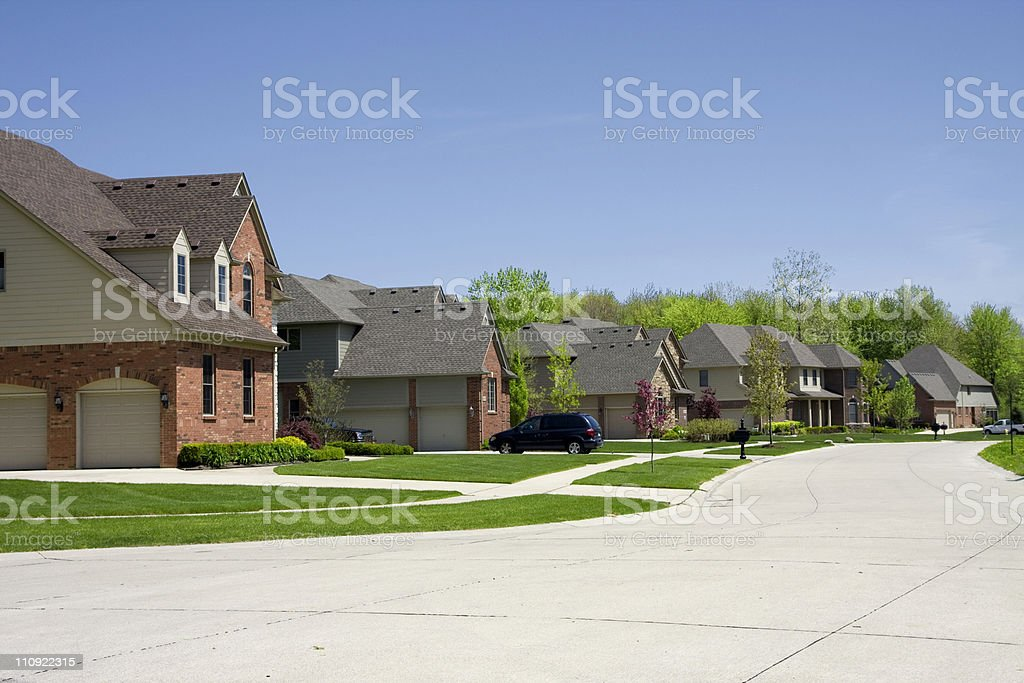 Neighborhood, midwestern houses in a row royalty-free stock photo