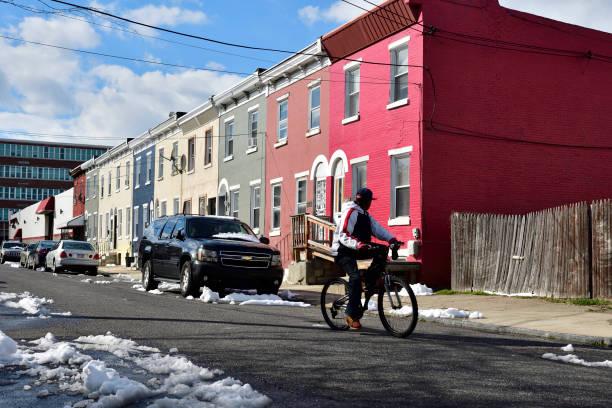 Neighborhood scenes in Strawberry Mansion, Philadelphia, PA stock photo