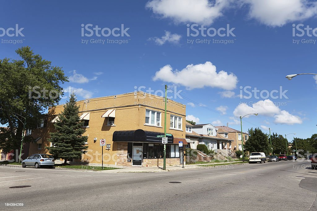 Neighborhood shop in Montclare, Chicago royalty-free stock photo