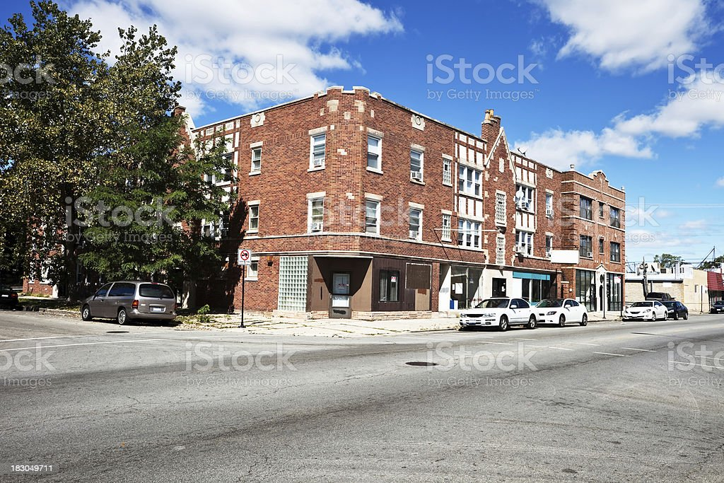 Neighborhood shops and apartments in Belmont Cragin, Chicago royalty-free stock photo