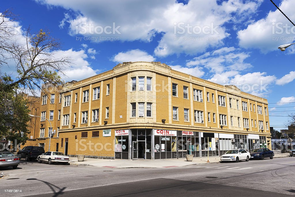 Neighborhood Shops and Laundry, Avalon Park, Chicago royalty-free stock photo