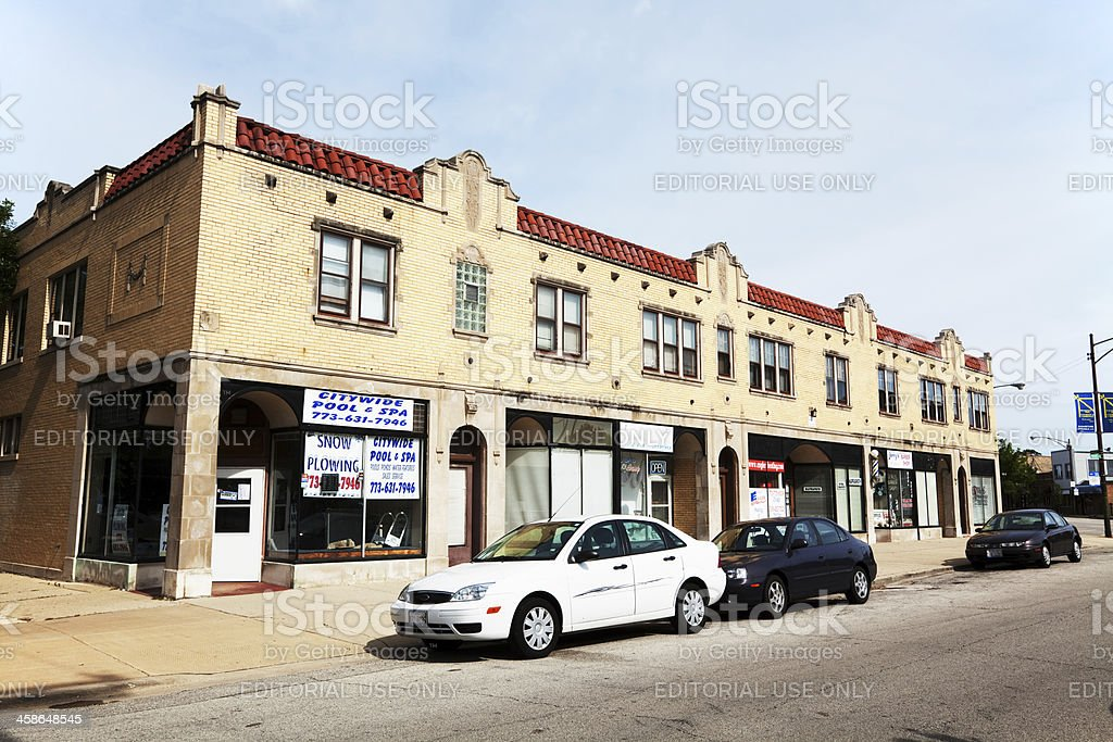 Neighborhood shops in Jefferson Park, Chicago royalty-free stock photo