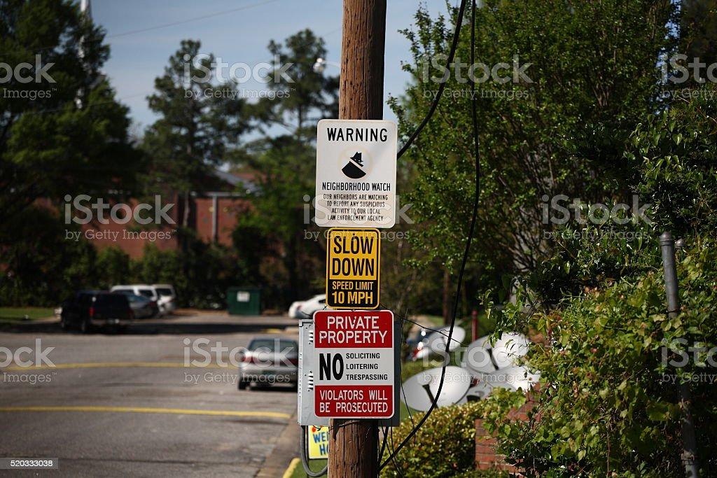 Neighborhood Signs stock photo