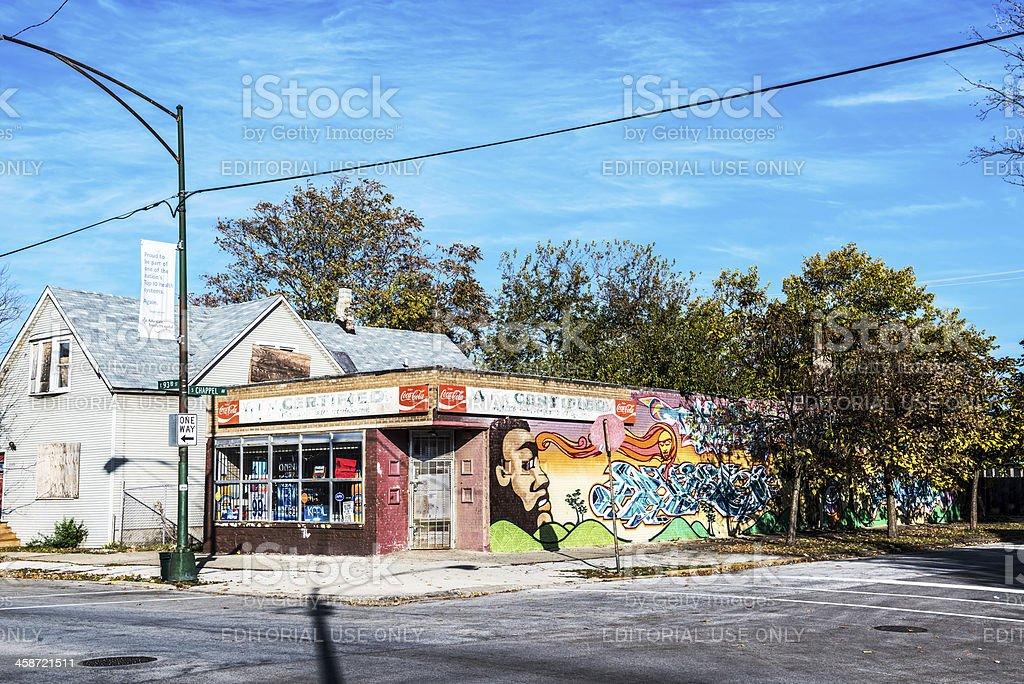 Neighborhood store  in Calumet Heights, Chicago royalty-free stock photo