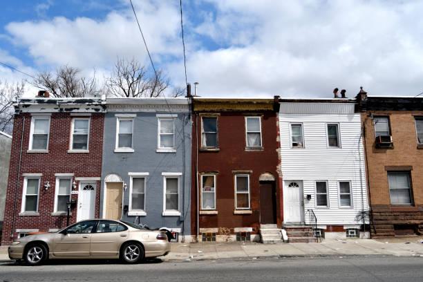 Neighborhood street scenes in Kensington, Philadelphia, PA stock photo