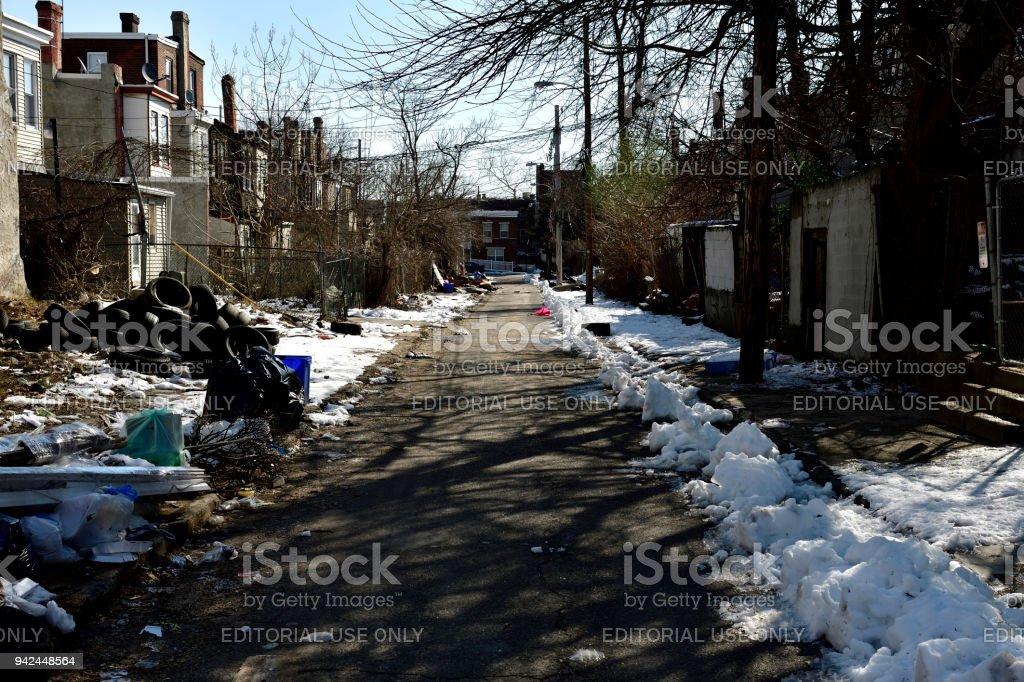 Neighborhood street scenes in Strawberry Mansion, Philadelphia, PA stock photo